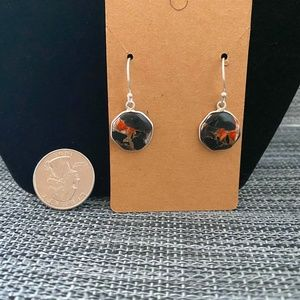 NWOT 925 SS Spiny oyster in Calsite Earrings